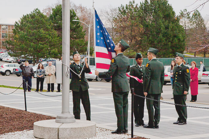 Members of the Binghamton University ROTC, from left, Annette Co