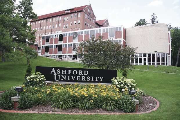 What types of degrees are offered online by Ashford University?