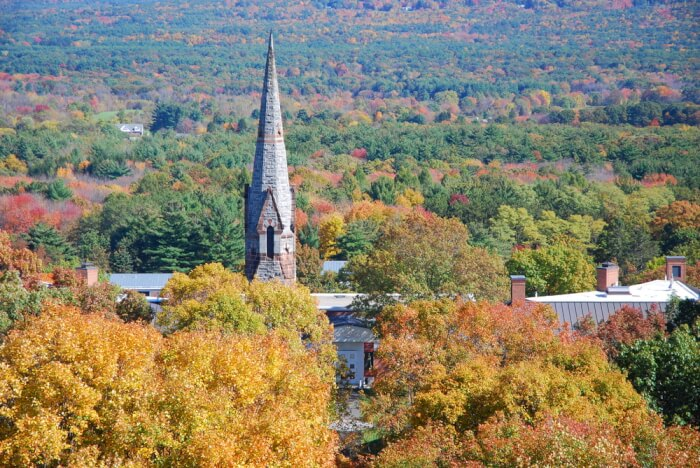 As you can see with this view of Stearns Steeple, Amherst College earned its place among these great value colleges with beautiful campuses.